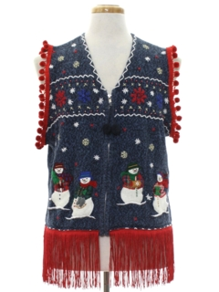 1980's Unisex Hand Embellished Ugly Christmas Sweater Vest