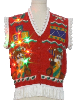1980's Unisex Bear-riffic Multicolor Lightup Hand Embellished Ugly Christmas Sweater Vest