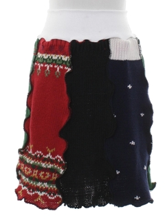 1980's Womens Hand Made Ugly Christmas Mini Skirt