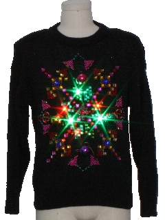 1980's Unisex Multicolor Lightup Hand Embellished Ugly Christmas Vintage Sweater
