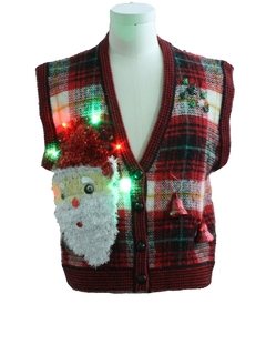 1990's Womens Hand Embellished Ugly Christmas Sweater Vest