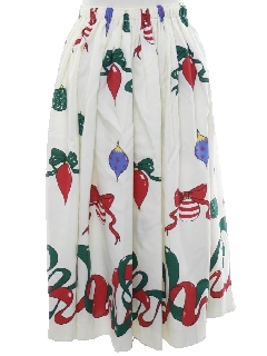 1980's Womens Home Made Ugly Christmas Skirt to Wear With Your Sweater