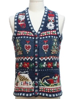 1980's Unisex Ladies, Girls or Boys Country Kitsch Ugly Christmas Sweater Vest