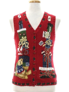 1980's Unisex Ladies, Girls or Boys Bear-riffic Ugly Christmas Sweater Vest