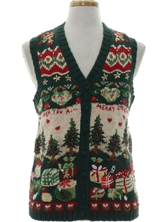1990's Unisex Country Kitsch Vintage Ugly Christmas Sweater Vest