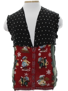 1980's Unisex Hand Made Bear-riffic Patchwork Ugly Christmas Sweater Vest