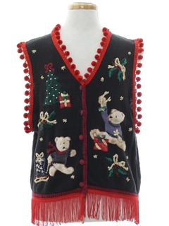 1980's Unisex Bear-riffic Hand Embellished Bear-riffic Ugly Christmas Sweater Vest