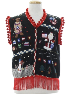 1980's Unisex Patriotic Hand Embellished Ugly Christmas Sweater Vest
