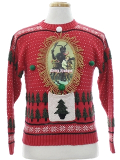 1980's Unisex Ladies or Boys Krampus Ugly Christmas Sweater