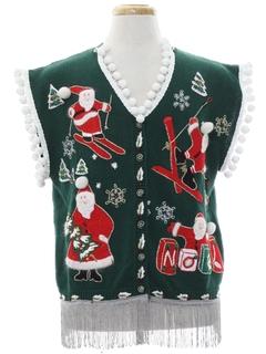 1990's Unisex Vintage Hand Embellished Ugly Christmas Sweater Vest