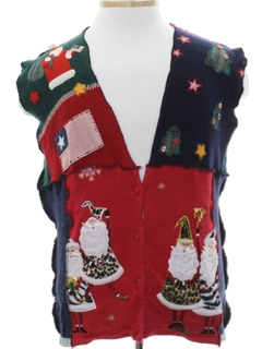 1980's Unisex Hand Made Patriotic Patchwork Ugly Christmas Sweater Vest