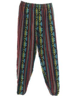 1980's Mens Baggy Print Guatemalan Pineapple Express style Hippie Pants
