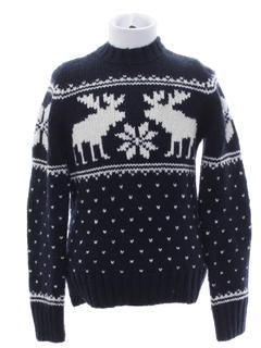 1980's Unisex Kids Snowflake Reindeer Ski Sweater