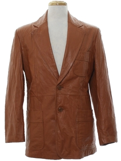 1970's Mens Leather Blazer Jacket