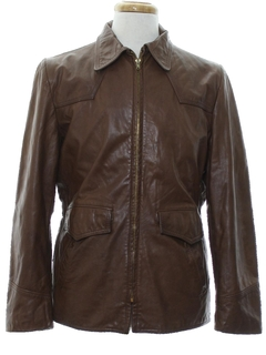 1980's Mens Car Coat Style Leather Jacket