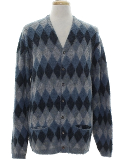 1960's Mens Mod Mohair Cardigan Sweater