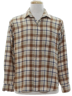 1960's Mens Plaid Flannel Sport Shirt