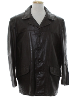1960's Mens Leather Car Coat Jacket