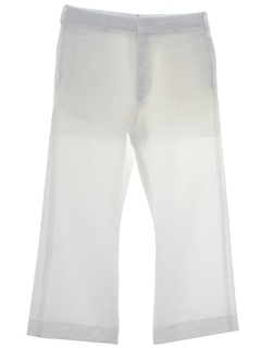 1970's Mens Disco Style Bellbottom Navy Issue White Polyester Pants