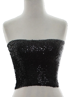 1980's Womens Sequined Cocktail Tube Top Shirt
