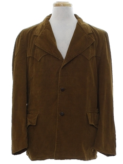 1970's Mens Western Corduroy Car Coat Style Blazer Jacket
