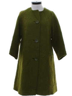 1960's Womens Mod Wool Duster Coat Jacket