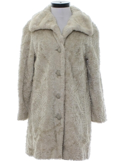 1950's Womens Faux Fur Duster Coat Jacket