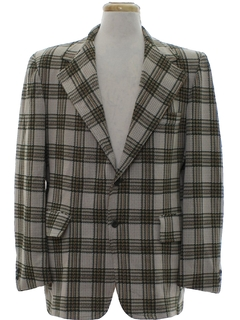 1970's Mens Plaid Disco Blazer Sport Jacket