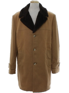1970's Mens Mod Car Coat Style Wool Overcoat Jacket