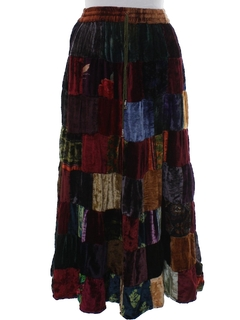 1990's Womens Patchwork Velvet Hippie Skirt