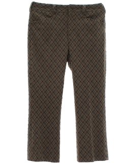 1970's Mens Flared Mod Plaid Leisure Pants