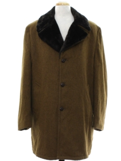1960's Mens Car Coat Style Wool Overcoat Jacket