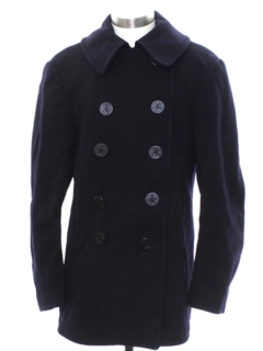 1970's Unisex Mod Navy Issue Pea Coat Jacket