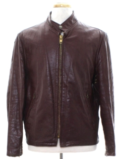 1970's Mens Mod Cafe Racer Leather Jacket