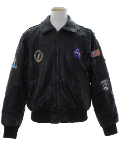 1990's Mens MA-1 NASA Leather Flight Jacket