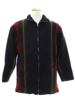 1980's Mens Wool Blanket Cloth Jacket
