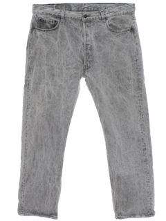 1980's Mens Acid Washed Levis 501 Straight Leg Denim Jeans Pants
