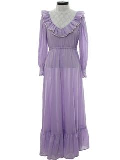 1970's Womens Victorian Style Prairie Dress