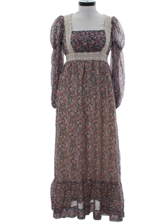 1970's Womens Gunnesax Maxi Prairie Hippie Dress