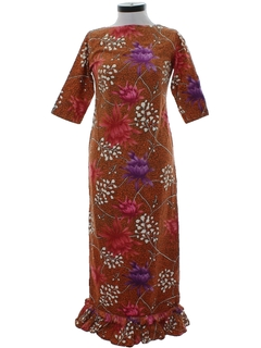 1960's Womens Mod Maxi Hawaiian Dress
