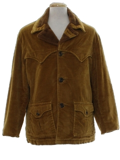 1960's Mens Mod Western Corduroy Car Coat Jacket