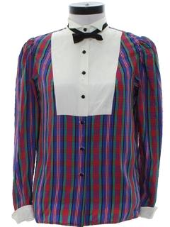 1980's Womens Tuxedo Style Shirt