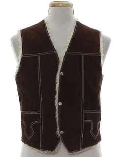 1980's Mens Suede Leather Western Vest