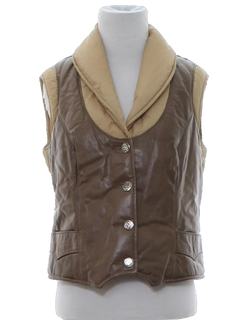1970's Womens Leather Ski Vest Jacket