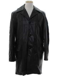 1960's Mens Leather Trenchcoat Overcoat Jacket