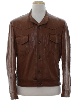 1980's Mens Mod Leather Western Jacket