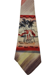 1940's Mens Hawaiian Hand Painted Wide Swing Necktie