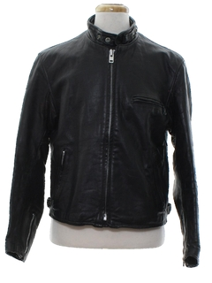 1980's Mens Cafe Racer Style Motorcycle Leather Jacket