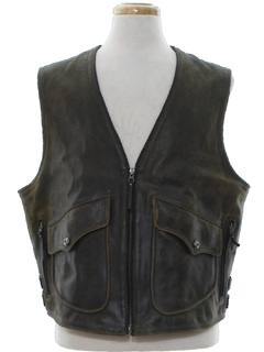 1980's Mens Leather Motorycle Biker Vest