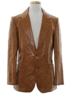 1970's Mens Mod Leather Blazer Sport Jacket